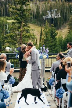 Love That Their Dog Made His Ereance During The Kiss At Outdoor Mountain Side Wedding In Sky Montana