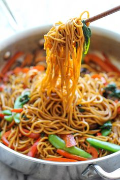 Easy Lo Mein - The easiest lo mein you will ever make in 15 min from start to finish. It's so much quicker, tastier and healthier than take-out! Can be done gluten free.