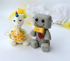 Unicorn cake topper robot cake topper wedding cake by PerlillaPets Owl Cake Toppers, Unicorn Cake Topper, Geek Wedding, Fantasy Wedding, Custom Wedding Cake Toppers, Wedding Cakes, Yellow Wedding, Wedding Colors, Groom Colours