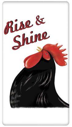 Good Morning Rise and Shine Farm Rooster 100% Cotton Flour Sack Dish Towel Tea Towel