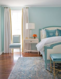 At first glance of this gorgeous turquoise bedroom captured by photographer Jessie Preza, you would never guess that it was designed (or even practical!) for a preteen girl! Her savvy mother turned to