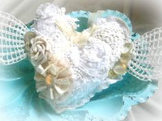 Shabby puffy heart with wings