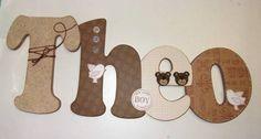Nome em MDF, decorado em papel de scrap. Pode ser utilizado para decorar quarto, porta de maternidade e festa infantil. Fazemos no tema e nas cores desejadas R$ 50,00