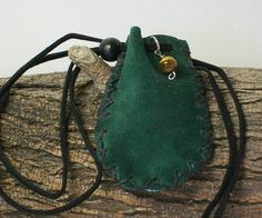 Leather Medicine Bag, Sage Pouch, Stone, Possible, Handmade Green Suede