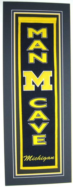 University of Michigan framed Man Cave Banner  framingart.net
