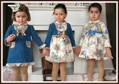 Blue and camel dresses