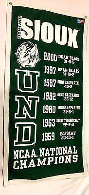 North Dakota Fighting Sioux Hockey National Championship Banner North Dakota Hockey, University Of North Dakota, East Grand Forks, Fighting Sioux, Hockey Rules, National Championship, Ice Fishing, Sioux Shop, Banner
