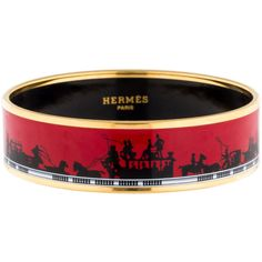 Pre-owned Hermes Wide Enamel Bracelet ($395) ❤ liked on Polyvore featuring jewelry, bracelets, hermes jewelry, red and black jewelry, gold tone jewelry, wide bangle and preowned jewelry