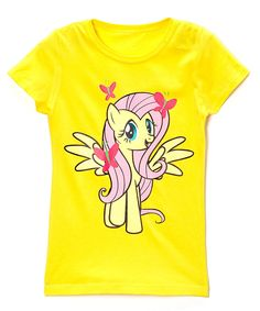 Love this Yellow & Pink Fluttershy Tee - Girls by My Little Pony on #zulily! #zulilyfinds