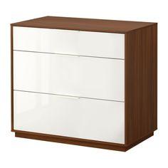 NYVOLL Byrå med 3 lådor IKEA Inbyggda dämpare fångar upp lådorna i farten och stänger dem långsamt, tyst och mjukt.
