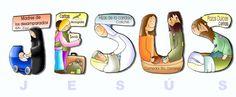 Que en cada gesto de amor, se lea en nombre de Jesús. Sunday School Projects, Jesus Pictures, My Jesus, Bible Stories, Bible Art, Faith, Disney Characters, Angels, Santos