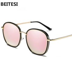 Sunglasses for Women - Retro Fashion Polarized Mirror Sun Glasses (Pink)