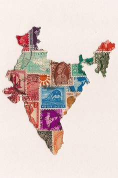 postage stamp map of india, using stamps from india... (i should do this using my stamps from ireland!)