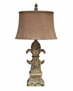 Resin Table Lamp, CVAUP533 - Reclaimed Washed Wood Finish with crosshatch design Brown Linen Shade. #HomeDecor