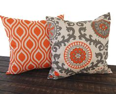 This listing is for one pair of decorative throw pillow covers for size 16 x16 insert in the new Nicole (peacock) in Tabby orange, and Rosa print