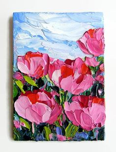 Pink Tulip Flower Floral Art Original ACEO Mini Tiny Painting SFA Palette Knife Textured by NuFineArt5