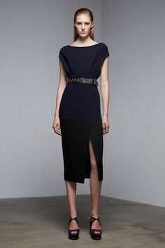 Donna Karan | Pre-Fall 2015 | 04 Navy belted short sleeve top and black midi skirt with side slit