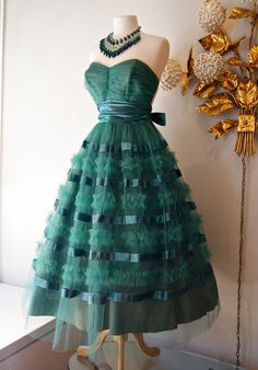 Vintage 1950's Party Dress // 50's Emerald Green Tulle and Ruffle Cupcake Dress with Bow Back.  The necklace is gorgeous. too!