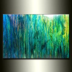 Original Abstract painting Contemporary BLUE , green , Fine Art by Henry Parsinia Large 36x24