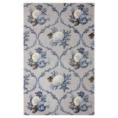 Stylishly anchor your living room or master suite with this lovely hand-hooked wool rug, showcasing a coastal-inspired motif in spa blue.  ...