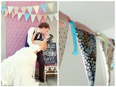 Wedding fabric bunting photobooth backdrop | Wedding Bunting And Flag Décor Ideas | Green Bride Guide Wedding Bunting, Photo Booth Backdrop, Baby Birthday, Flag, Backdrops, Polaroid Film, Guide, Wedding Dresses, Bride Gowns