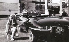 jaguar e type with sales girl models - Google Search