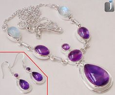 An elegant design of sterling silver necklace and earrings with charming Purple Amethyst and Rainbow Moonstone...  #jewelexi  #amethyst  #silvernecklace  #silverearrings  #moonstone