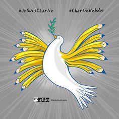 Hommage à Charlie Hebdo par Eduardo EDO Georges Wolinski, Charlie Hebdo, Drame, Illustrations, Art Plastique, The Dreamers, Rooster, Images, Birds