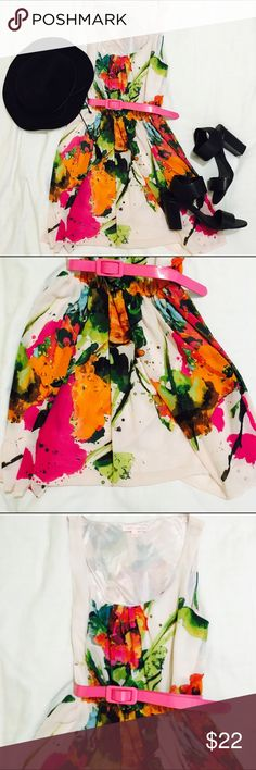 Colorful dress Vibrant colorful dress with hot pink belt. Could be dressed up or down! Perfect condition (not brand listed) ASOS Dresses