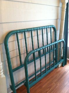 Vintage Metal Bed Double / Full Size Painted Turquoise - Bedframe. $299.00, via Etsy.
