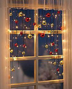 LED Lichterkette Christmas Lichtervorhang Weihnachtsdeko  Kugeln Weihnachtskugel