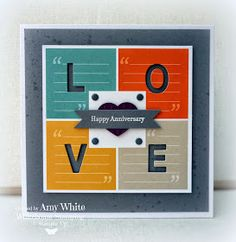 """By Amy White for """"WhiteHouse Stamping"""", featuring Stampin; stamp sets """"Gorgeous Grunge"""", """"Teeny Tiny Wishes"""" and """"Yippee Skppee"""" Happy Anniversary, Anniversary Cards, Pocket Cards, Scrapbook Cards, Scrapbooking, Paper Cards, Amy White, Love Letters, Cute Cards"""