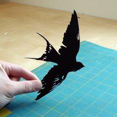 Bird Papercut: Swallow Hand-Cut Paper Silhouette- 8x10 by papercutsbyjoe on Etsy
