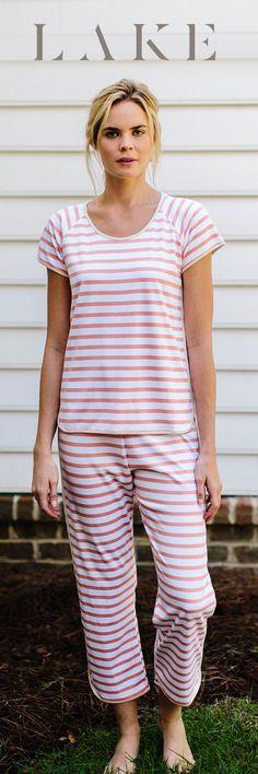 97fed355aa LAKE pima cotton pajamas. Short-cropped set. Spice stripe. Womens Pjs