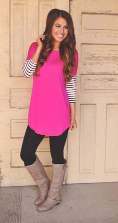 Dottie Couture Boutique - Fuchsia Tunic , $36.00 (http://www.dottiecouture.com/fuchsia-tunic/)... Fashion: pants