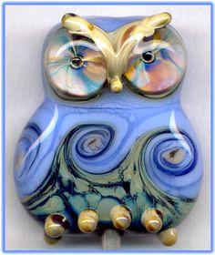 Periwinkle Owl Focal Handmade Glass Lampwork Bead Handmade SRA W79 :) ♥♥♥