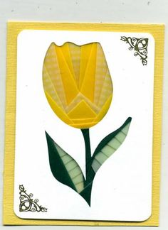 Iris Folded Tulip by abuist - Cards and Paper Crafts at Splitcoaststampers Iris Folding Templates, Iris Paper Folding, Paper Folding Crafts, Iris Folding Pattern, Card Patterns, Quilt Patterns, Crochet Patterns, Owl Patterns, Dishcloth Knitting Patterns