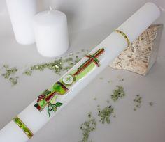 Kommunionkerze Kerze zur Kommunion modernes Dekor von Kreatiwita