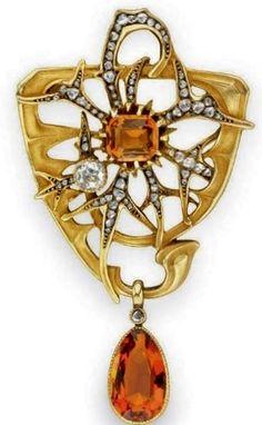 AN ART NOUVEAU CITRINE, DIAMOND AND GOLD PENDANT BROOCH, BY LEON GARIOD