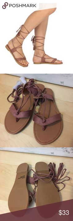 2 for $25🌻Mauve Lace up Sandals Mauve Lace up flat sandals. So cute comfy for spring/ summer. Pair them with jeans, shorts, skirts or even your swim suit! Price Firm unless bundled Fabfindz Shoes Sandals