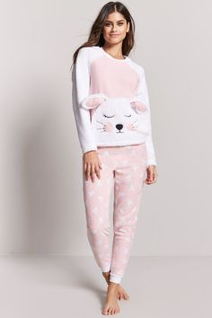 Product Name:Plush Rabbit Pajama Set, Category:app-main, Winter Night Suit, Night Suit For Girl, Girls Night Dress, Cute Comfy Outfits, Trendy Outfits, Fashion Outfits, Girls Pajamas, Pajamas Women, Pijama Plush