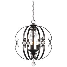 """Ella 18""""W Etruscan Bronze Open Sphere Foyer Pendant - #13G45 