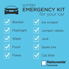 cool Winter emergency kit for your car....  Travel Safety Tips