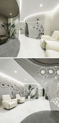 Lace-like patterns on the walls create artistic installations throughout this modern nail salon, while the curved sections of the salon define different areas like manicure, beauty , reception and storage. Modern Nail Salon, Curved Walls, Beauty Salon Interior, Artistic Installation, Bright Nails, Interior Decorating, Interior Design, Salon Style, Ceiling Design