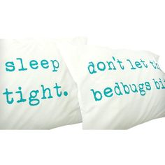 """Urban Bird & Co. Sleep Tight, Don't Let the Bedbugs Bite"""" Pillowcases... (€26) ❤ liked on Polyvore featuring home, bed & bath, bedding, bed sheets, turquoise bedding, urban bedding, cotton pillowcases, cotton pillow cases and bird bedding"""