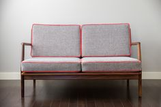 A Calgary Mid-Century Vintage Settee or Love Seat Furniture in Designer Fabrics. Designed & For Sale for $1640 by Natalie Fuglestveit Interior Design.