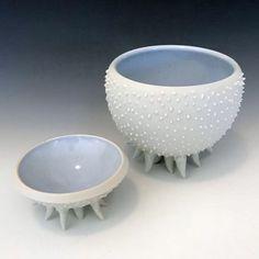 Urchin bowls by Cindy Percival. Mason Stains and clear glaze. Glaze, Decorative Bowls, Porcelain, Stains, Tableware, Artists, Home Decor, Enamel, Porcelain Ceramics