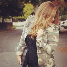 the camo jacket by keeping the look fresh: guys, think structured fitted camo blazer with washed button up, and girls, pair with a full short skirt and ankle boots.