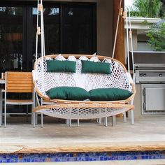 Double Outdoor Swing with Footrest (Polyester Rope / Hunter Green Pillows) no stand @ kwhammocks.com  305.293.0008  $799
