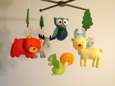 Baby+crib+mobile+forest+mobile+animal+mobile++felt+by+Feltnjoy,+$95.00